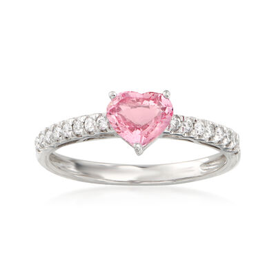 1.00 Carat Padparadscha Sapphire Heart and .17 ct. t.w. Diamond Ring in 14kt White Gold