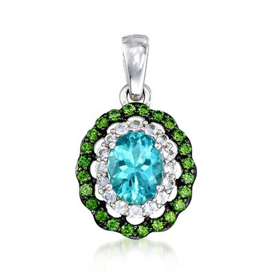 1.00 Carat Teal Apatite Pendant with Chrome Diopsides and White Zircons in Sterling Silver, , default