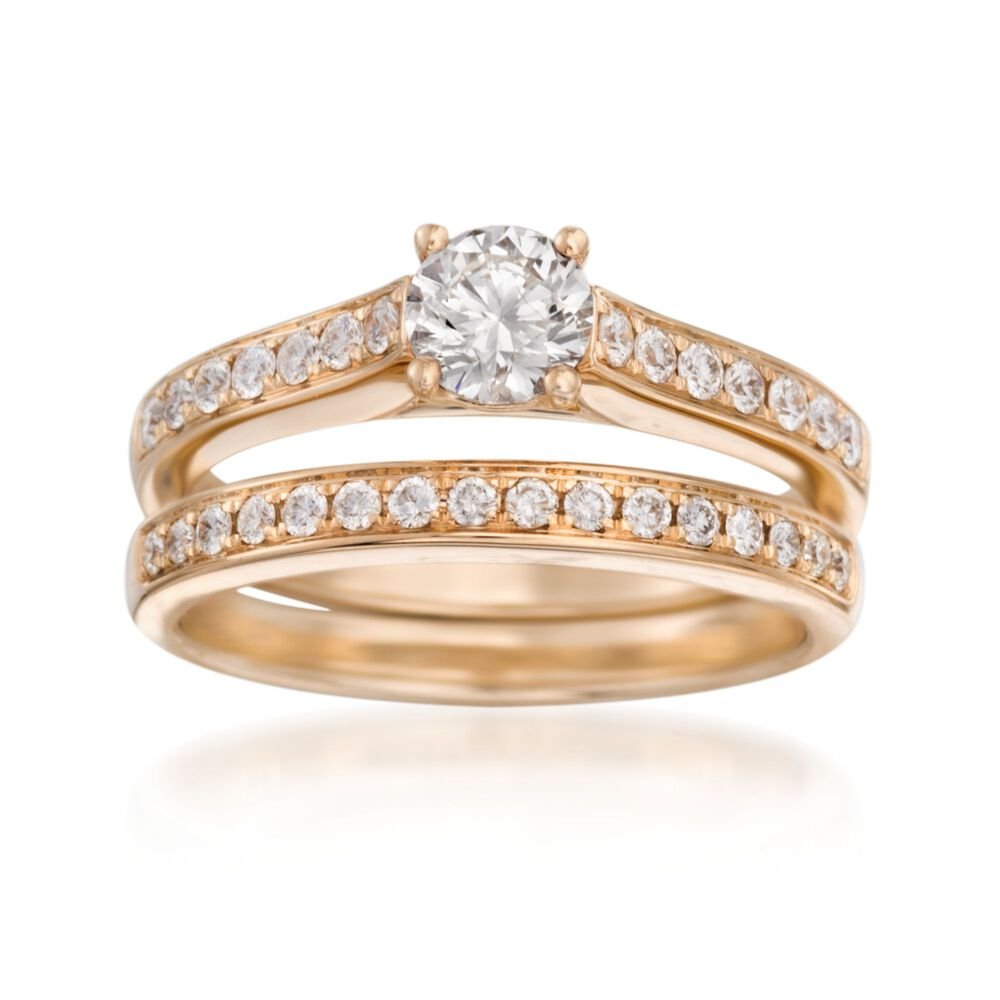 T W Diamond Bridal Set Engagement And Wedding Rings In 14kt Yellow