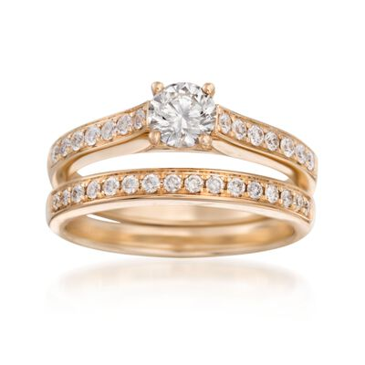 .92 ct. t.w. Diamond Bridal Set: Engagement and Wedding Rings in 14kt Yellow Gold, , default