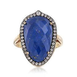 Blue Lapis and .44 ct. t.w. White Topaz Ring in 18kt Gold Over Sterling, , default