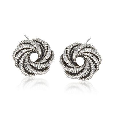 Sterling Silver Open Twist Earrings, , default