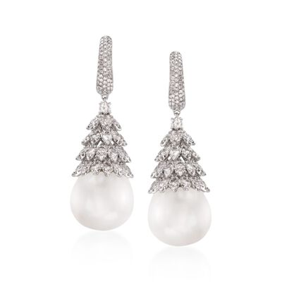 16mm Cultured South Sea Pearl and 5.75 ct. t.w. Diamond Drop Earrings in 18kt White Gold, , default