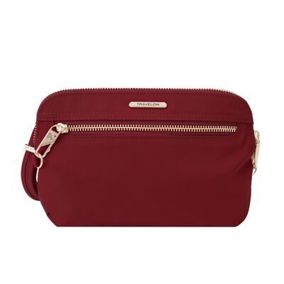 "Travelon ""Anti-Theft Tailored"" Garnet-Red Nylon Twill Crossbody Clutch, , default"