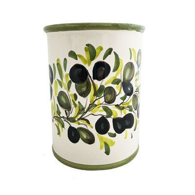 "Abbiamo Tutto Italian ""Classic Olive"" Ceramic Wine Bottle/Kitchen Utensil Holder, , default"