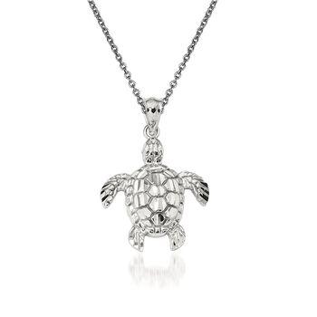 """14kt White Gold Sea Turtle Pendant Necklace. 18"""", , default"""