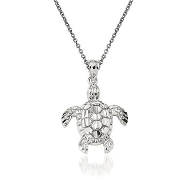 14kt White Gold Sea Turtle Pendant Necklace, , default