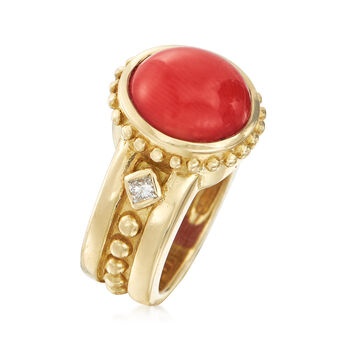 C. 1990 Vintage 12m Coral and .20 ct. t.w. Diamond Ring in 18kt Yellow Gold. Size 6.5, , default