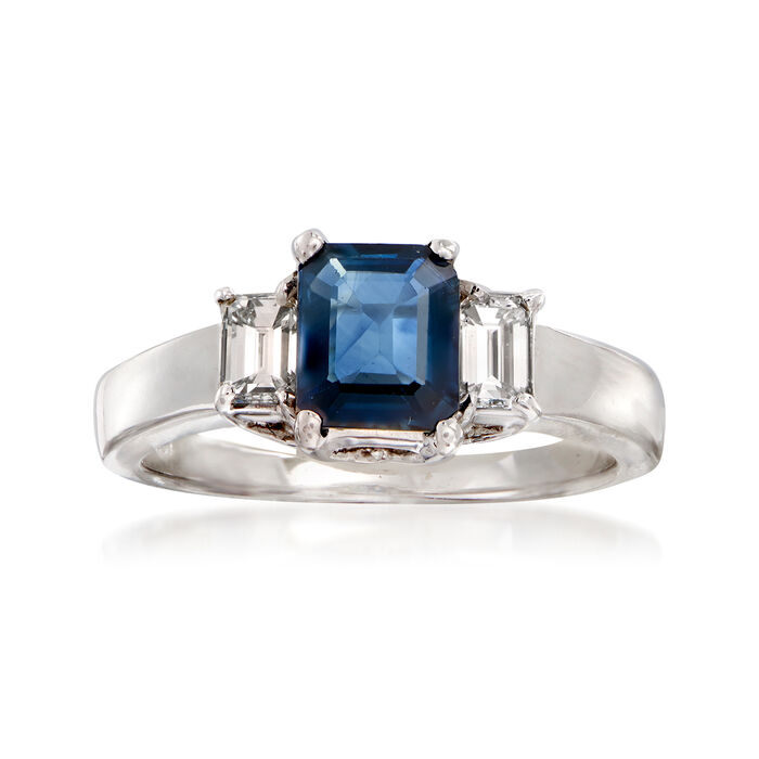 C. 1990 Vintage 1.15 Carat Sapphire and .50 ct. t.w. Diamond Ring in 18kt White Gold. Size 6.5