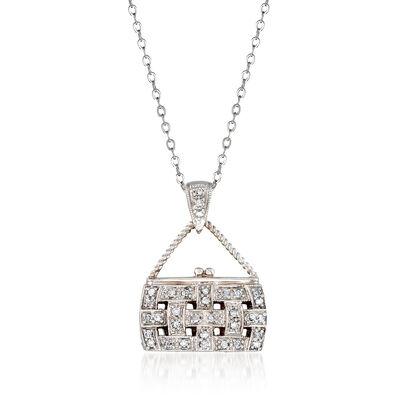 C. 2000 Vintage .33 ct. t.w. Diamond Purse Pendant Necklace in 14kt White Gold, , default