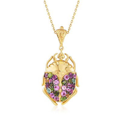 2.47 ct. t.w. Multicolored Tourmaline Scarab Pendant Necklace in 18kt Gold Over Sterling, , default