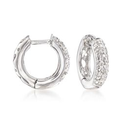 "Sterling Silver Huggie Hoop Earrings With Diamond Accents. 3/8"", , default"