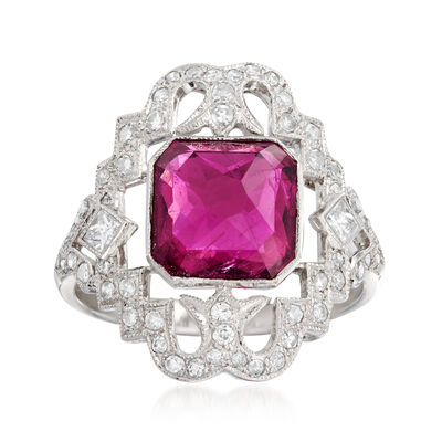 C. 1980 Vintage 3.12 Carat Pink Tourmaline and .55 ct. t.w. Diamond Ring in 14kt White Gold, , default