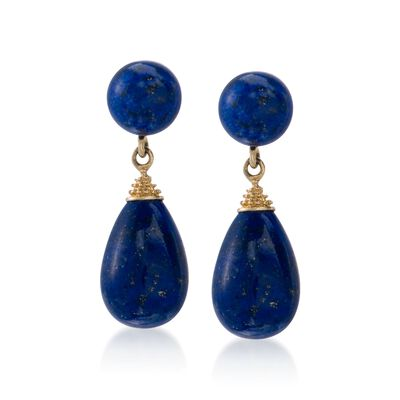 Blue Lapis Drop Earrings in 14kt Yellow Gold, , default