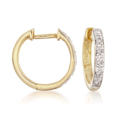 Diamond Accent Huggie Hoop Earrings in 14kt Gold Over Sterling, , default