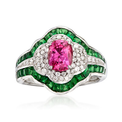 1.50 Carat Pink Sapphire and 2.50 ct. t.w. Tsavorite with .39 ct. t.w. Diamond Ring in 14kt White Gold, , default
