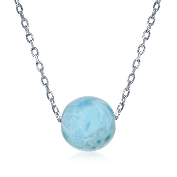 """10mm Larimar Bead Necklace in Sterling Silver. 16.5"""""""