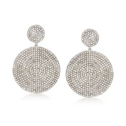 3.00 ct. t.w. Pave Diamond Double Disc Drop Earrings in Sterling Silver, , default