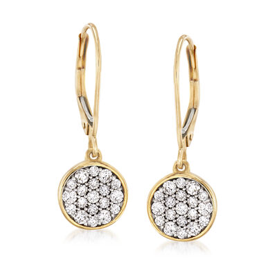 .50 ct. t.w. Pave Diamond Disc Drop Earrings in 14kt Yellow Gold, , default
