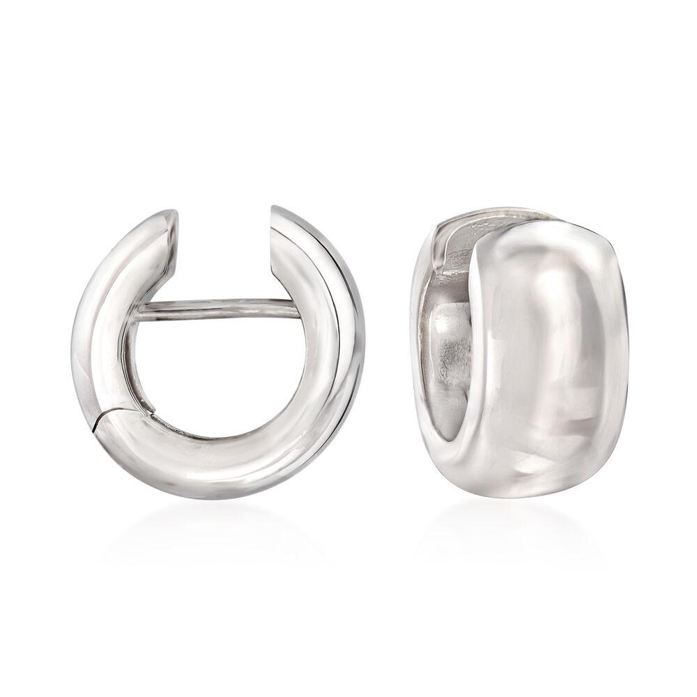 Italian Sterling Silver Huggie Hoop Earrings 3 8 Default