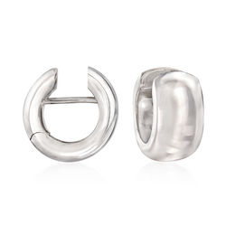"Italian Sterling Silver Huggie Hoop Earrings. 3/8"", , default"