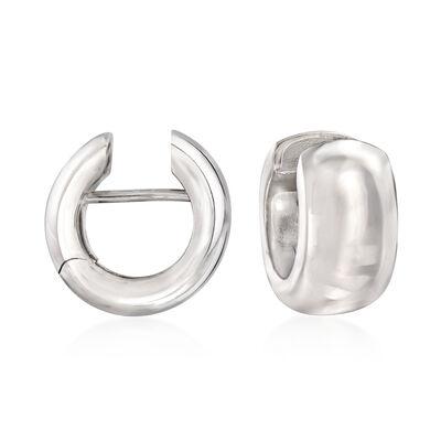 Italian Sterling Silver Huggie Hoop Earrings, , default