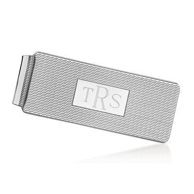 Sterling Silver  Textured Three-Initial Engravable Money Clip