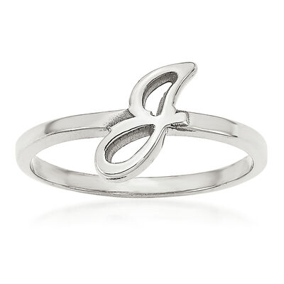 14kt White Gold Laser Polished Initial Script or Block Font Ring, , default