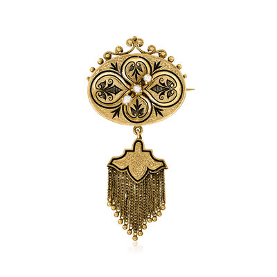 C. 1930 Vintage 2.5mm Cultured Pearl Tassel Pin in 14kt Yellow Gold