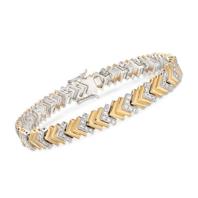 1.60 ct. t.w. CZ Chevron-Link Tennis Bracelet in Two-Tone Sterling Silver, , default