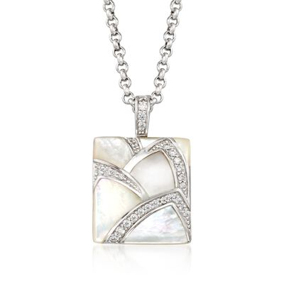 "Belle Etoile ""Sirena"" Mother-Of-Pearl and .50 ct. t.w. CZ Pendant in Sterling Silver, , default"