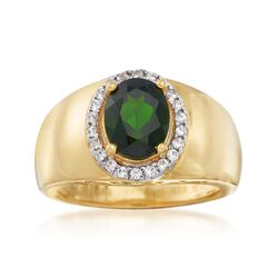1.70 Carat Chrome Diopside and .30 ct. t.w. White Zircon Ring in 18kt Gold Over Sterling, , default