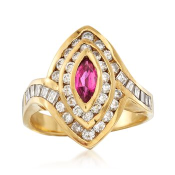 C. 1980 Vintage .35 Carat Ruby and 1.00 ct. t.w. Diamond Ring in 18kt Yellow Gold. Size 6.75, , default