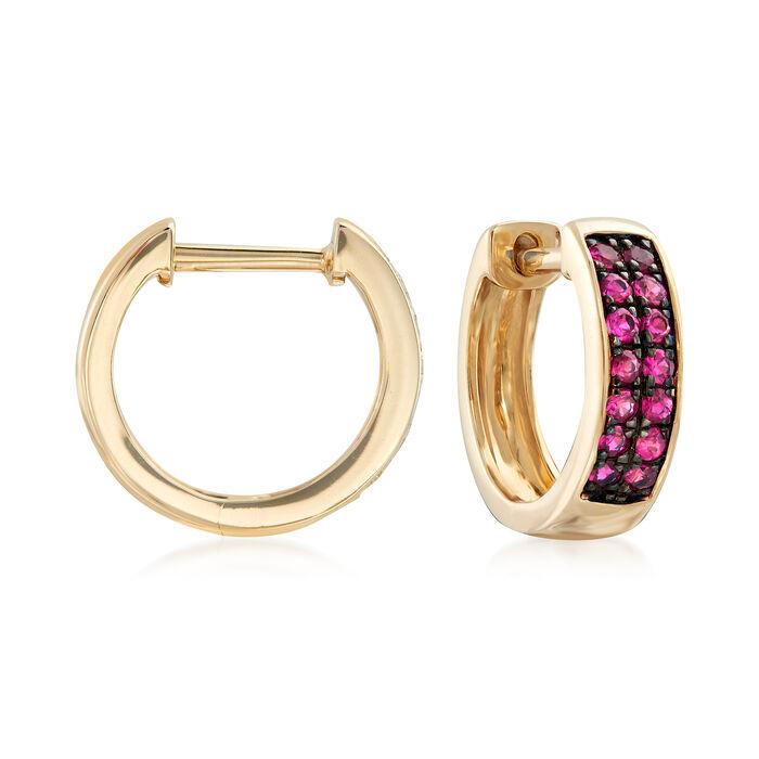 ".20 ct. t.w. Ruby Huggie Hoop Earrings in 14kt Yellow Gold. 3/8"", , default"