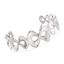 """Italian Sterling Silver Infinity Cuff Bracelet. 7"""", , default"""