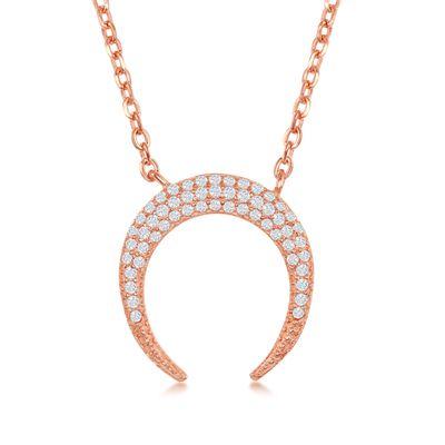.25 ct. t.w. Pave CZ Crescent Horn Necklace in 18kt Rose Gold Over Sterling, , default