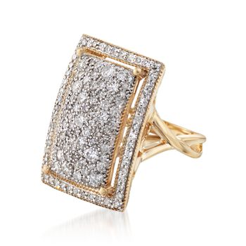 1.52 ct. t.w. Pave Diamond Rectangular Ring in 14kt Yellow Gold, , default