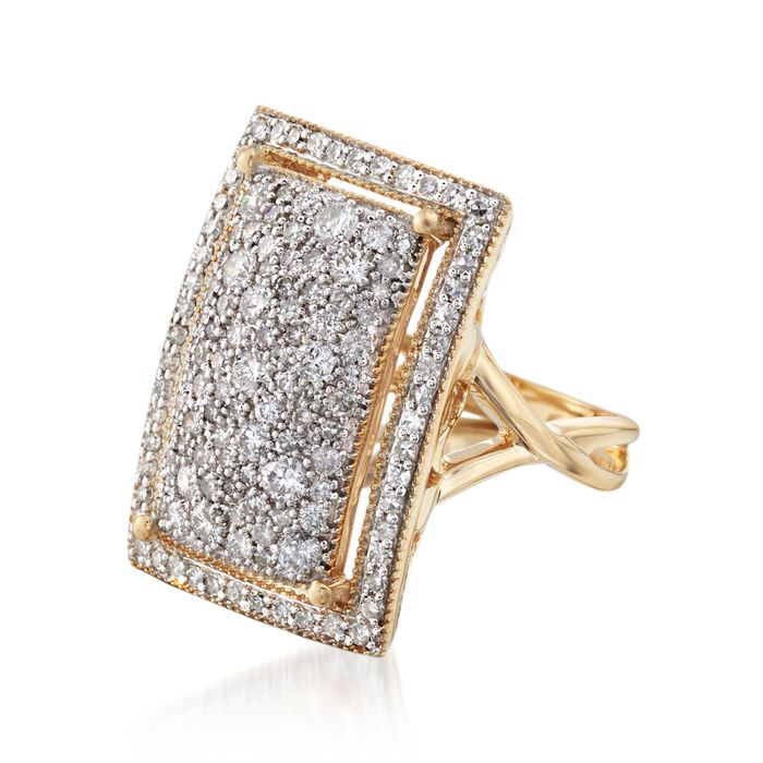1.52 ct. t.w. Pave Diamond Rectangular Ring in 14kt Yellow Gold