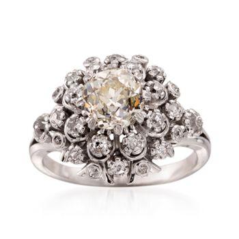 C. 1920 Vintage 2.11 ct. t.w. Diamond Cluster Ring in Platinum. Size 6.25, , default
