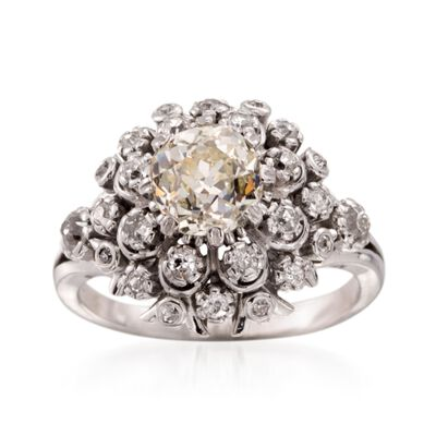 C. 1920 Vintage 2.11 ct. t.w. Diamond Cluster Ring in Platinum, , default