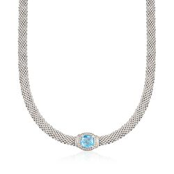 "Phillip Gavriel ""Popcorn"" 5.00 Carat Blue Topaz and .11 ct. t.w. Diamond Necklace in Sterling Silver. 17"", , default"
