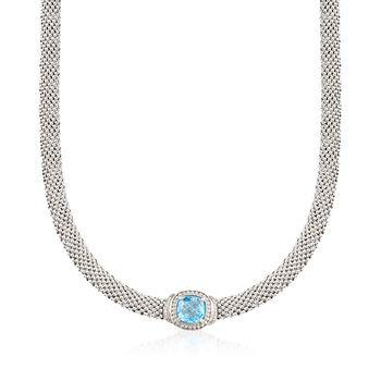 "Phillip Gavriel ""Popcorn"" 5.00 Carat Blue Topaz and .11 ct. t.w. Diamond Necklace in Sterling Silver. 17"", , default"