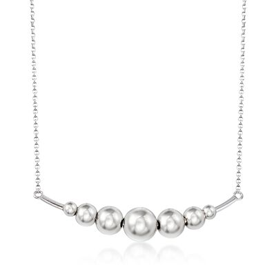 Italian Sterling Silver Graduated Ball Bar Necklace, , default