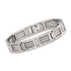 "Men's Stainless Steel Link Bracelet. 8.5"", , default"