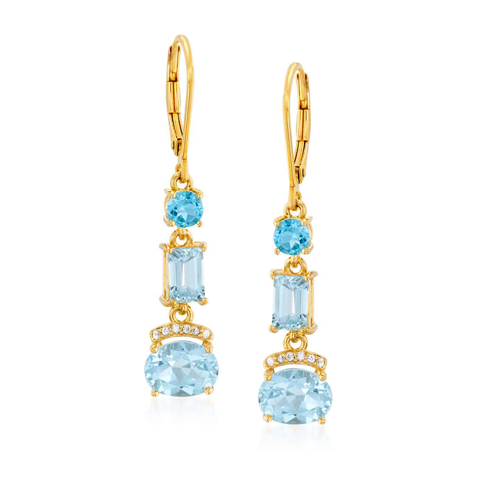 3.70 ct. t.w. Swiss and Sky Blue Topaz and .10 ct. t.w. Simulated White Sapphire Drop Earrings in 18kt Gold Over Sterling, , default