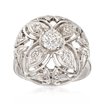 C. 1950 Vintage 1.05 ct. t.w. Diamond Dome Ring in 14kt White Gold. Size 7, , default
