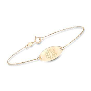 Italian 14kt Yellow Gold Personalized Oval Disc Bracelet , , default