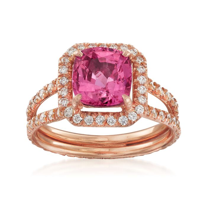 C. 1990 Vintage 2.59 Carat Pink Sapphire and 1.20 ct. t.w. Diamond Ring in 18kt Rose Gold. Size 7