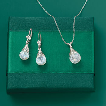 Floating Opal Pendant Necklace in 14kt White Gold, , default