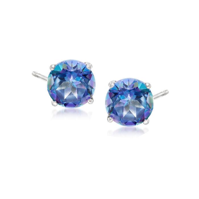 3.00 ct. t.w. Blue Topaz Post Earrings in 14kt White Gold